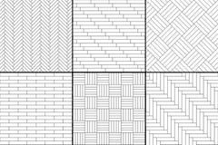 黑白简单的木镶花地板设置了-人字形,条纹,正方形无缝的样式,传染媒介 皇族释放例证