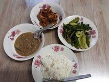 白米、辣椒酱、煮沸的菜和红色咖喱 库存图片