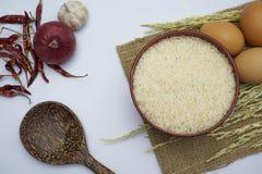 白米和稻在白色背景 图库摄影