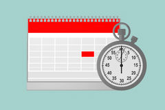 白纸日历的平的概念性例证与stopwa的 库存图片