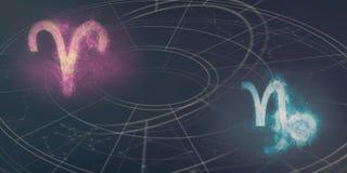 白羊星座和山羊座占星标志兼容性 夜空吸收 库存图片