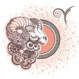 白羊星座 艺术品设计符号符号十二多种黄道带 向量例证