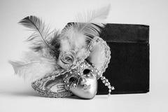 黑白美好的装饰微型面具 免版税库存照片