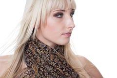 白肤金发与围巾 图库摄影