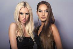 白肤金发和深色 有摆在演播室的豪华头发的两个性感的女孩 库存照片