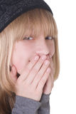 白肤金发女孩笑少年 库存照片