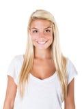 白肤金发妇女微笑 免版税图库摄影