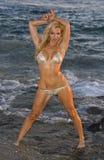 白肤金发海滩的比基尼泳装弄湿了 免版税库存图片