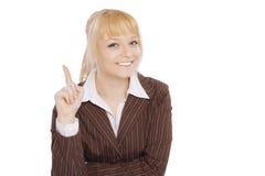 白肤金发的企业逗人喜爱的纵向妇女年轻人 免版税库存照片
