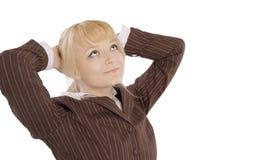 白肤金发的企业逗人喜爱的纵向妇女年轻人 库存图片