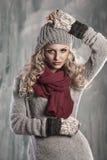 白肤金发的俏丽的冬天妇女年轻人 免版税库存图片