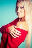 白肤金发的俏丽的妇女 库存照片