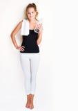 白肤金发的健身妇女年轻人 库存照片