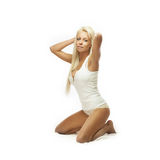 白肤金发的内衣秀丽 免版税图库摄影