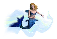 白肤金发的剪报包括美人鱼路径 免版税库存图片