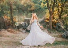 白肤金发的卷发的美妙的夫人在有花的一灰色豪华飞行华美和振翼的婚纱,滤网 库存照片