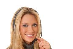 白肤金发的可爱的电话妇女 免版税库存照片
