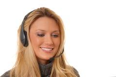 白肤金发的可爱的电话妇女 库存图片