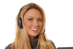 白肤金发的可爱的电话妇女 免版税图库摄影