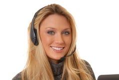 白肤金发的可爱的电话妇女 免版税库存图片