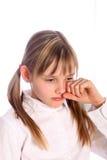 白肤金发的哭泣的女孩年轻人 免版税库存图片