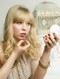 白肤金发的嘴唇俏丽的色彩 图库摄影