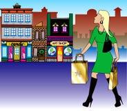 白肤金发的圣诞节购物 免版税库存照片