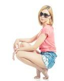 白肤金发的太阳镜 免版税图库摄影