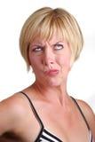 白肤金发的夫人使为难 库存照片