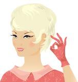 白肤金发的夫人减速火箭微笑 库存图片