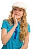 白肤金发的夫人悲伤年轻人 免版税库存照片
