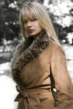 白肤金发的女孩冬天 免版税库存照片
