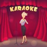 白肤金发的女孩唱歌卡拉OK演唱在现场 动画片样式 免版税库存照片