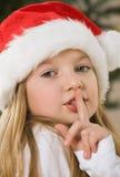 白肤金发的女孩头发帽子俏丽的圣诞&# 免版税库存照片