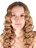 白肤金发的女孩头发的长的纵向 免版税库存照片