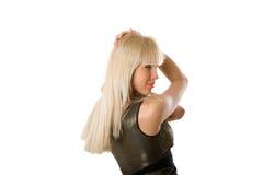 白肤金发的女孩头发 图库摄影