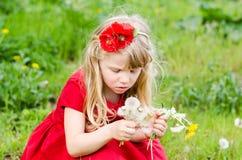 白肤金发的女孩用蒲公英 免版税库存图片