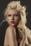 白肤金发的女孩秀丽纵向  免版税库存图片