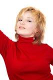 白肤金发的女孩红色 免版税库存照片