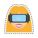 白肤金发的女孩虚拟现实玻璃技术设计插队 向量例证
