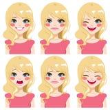 白肤金发的女孩面孔表示 库存例证