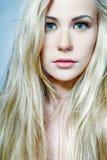白肤金发的女性头发长的设计 库存照片