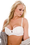 白肤金发的女用贴身内衣裤设计 库存照片