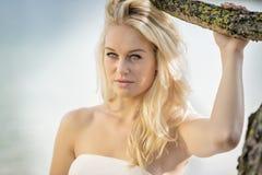 白肤金发的妇女在树下 库存照片