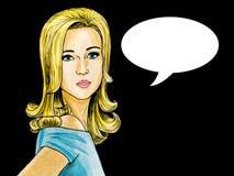 白肤金发的妇女的流行艺术例证有讲话泡影的 皇族释放例证