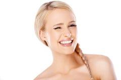 白肤金发的妇女秀丽画象  免版税库存照片