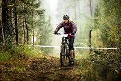 年轻白肤金发的妇女骑自行车者沿森林足迹乘坐 免版税库存图片