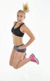 白肤金发的妇女-锻炼 免版税库存照片