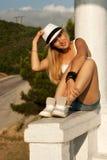 白肤金发的帽子白色whith 图库摄影