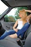 白肤金发的性感的卡车妇女年轻人 库存图片